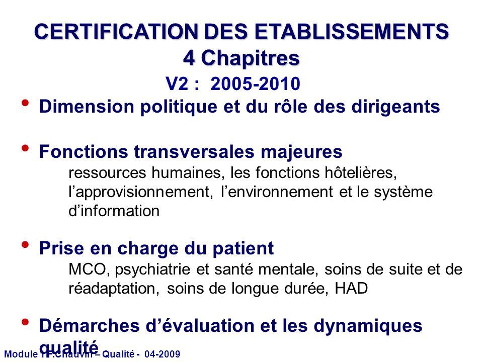 Module 1 F.Chauvin – Qualité - 04-2009 CERTIFICATION DES ETABLISSEMENTS 4 Chapitres Dimension politique et du rôle des dirigeants Fonctions transversa