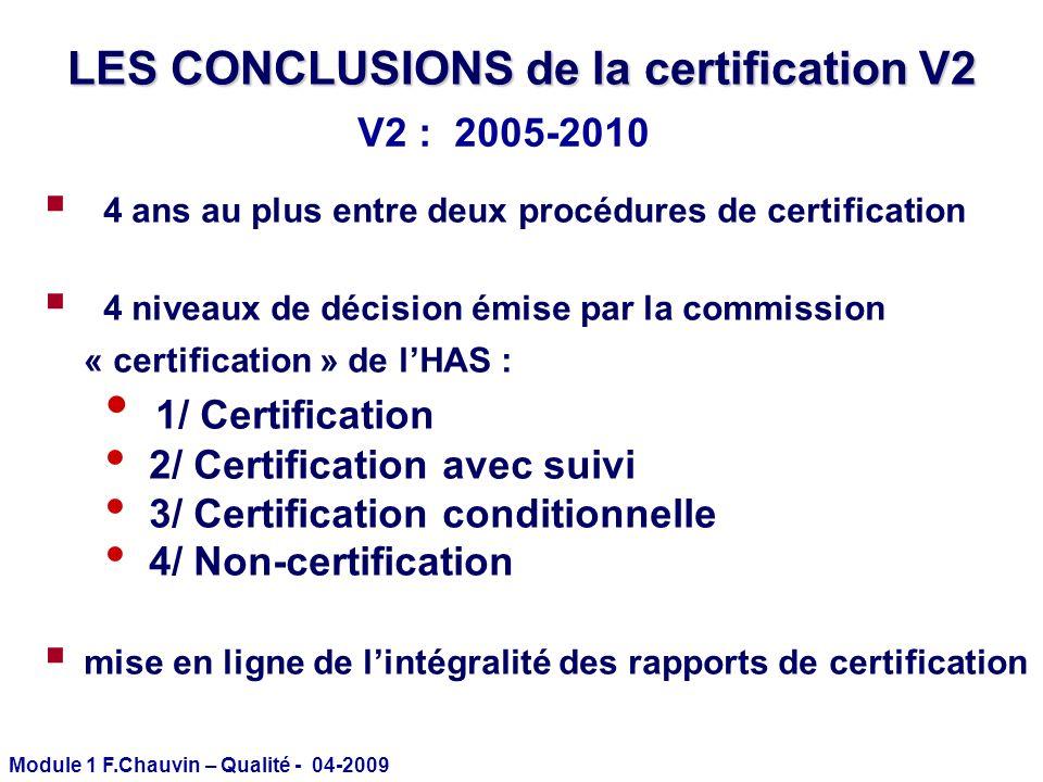 Module 1 F.Chauvin – Qualité - 04-2009 LES CONCLUSIONS de la certification V2 4 ans au plus entre deux procédures de certification 4 niveaux de décisi