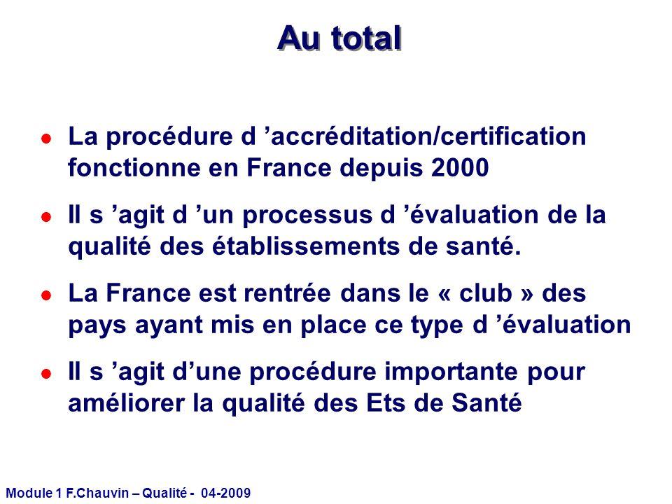 Module 1 F.Chauvin – Qualité - 04-2009 Au total l La procédure d accréditation/certification fonctionne en France depuis 2000 l Il s agit d un process