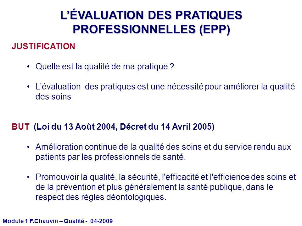 Module 1 F.Chauvin – Qualité - 04-2009 LÉVALUATION DES PRATIQUES PROFESSIONNELLES (EPP) JUSTIFICATION Quelle est la qualité de ma pratique ? Lévaluati