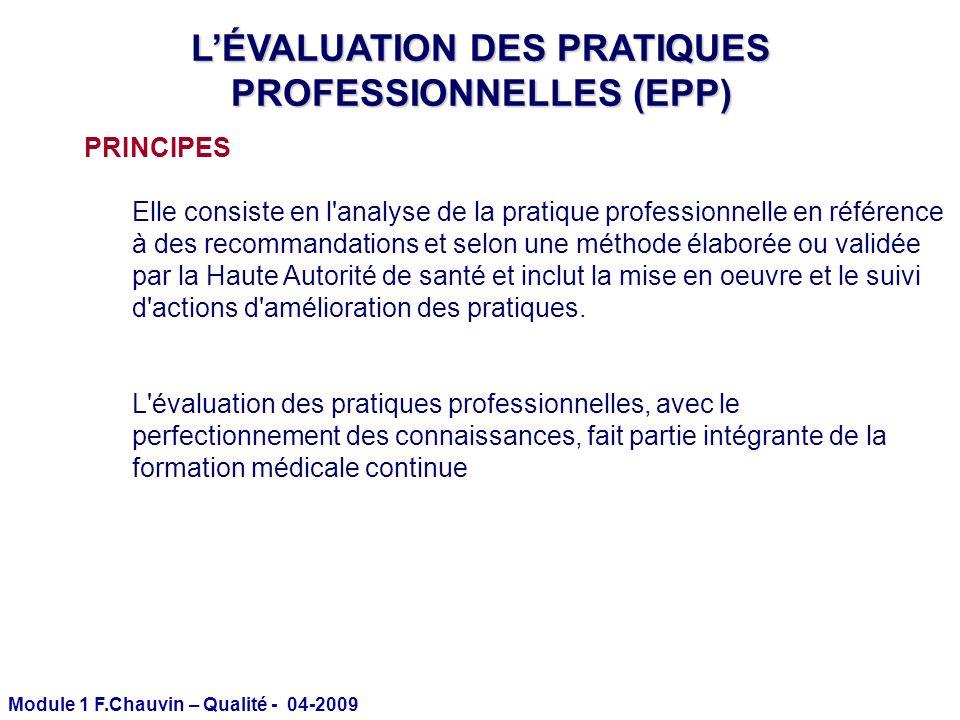 Module 1 F.Chauvin – Qualité - 04-2009 LÉVALUATION DES PRATIQUES PROFESSIONNELLES (EPP) PRINCIPES Elle consiste en l'analyse de la pratique profession