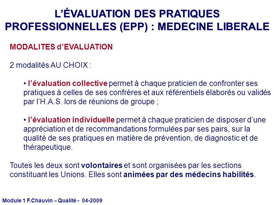 Module 1 F.Chauvin – Qualité - 04-2009 MODALITES dEVALUATION 2 modalités AU CHOIX : lévaluation collective permet à chaque praticien de confronter ses