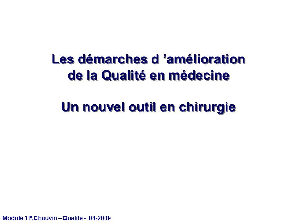 Module 1 F.Chauvin – Qualité - 04-2009 Les démarches d amélioration de la Qualité en médecine Un nouvel outil en chirurgie Les démarches d amélioratio