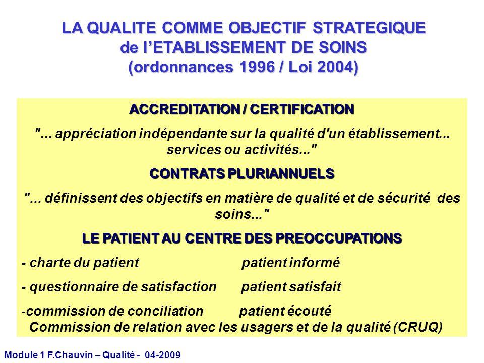 Module 1 F.Chauvin – Qualité - 04-2009 Les démarches d amélioration de la Qualité en médecine LACCREDITATION DES ETABLISSEMENTS DE SOINS (2000-2004) CERTIFICATION (2005) Les démarches d amélioration de la Qualité en médecine LACCREDITATION DES ETABLISSEMENTS DE SOINS (2000-2004) CERTIFICATION (2005)