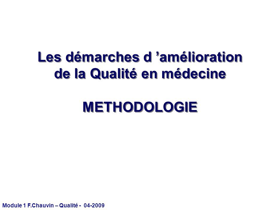 Module 1 F.Chauvin – Qualité - 04-2009 Évaluation de la qualité des soins : 3 niveaux StructureProcessusRésultats Avons-nous les moyens de bien faire .