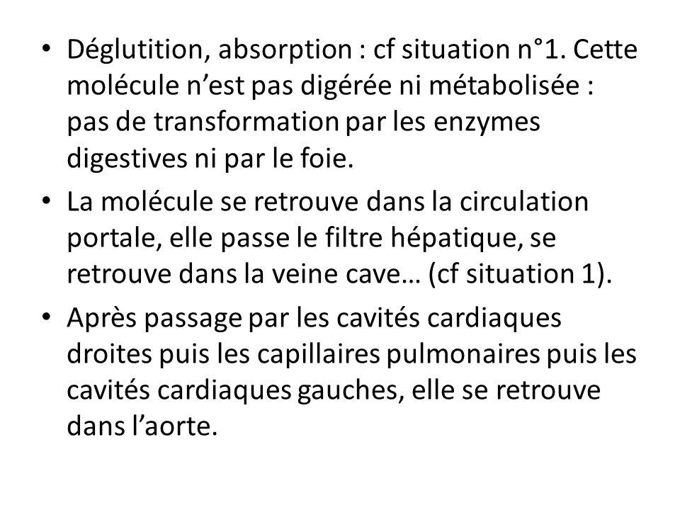 Déglutition, absorption : cf situation n°1. Cette molécule nest pas digérée ni métabolisée : pas de transformation par les enzymes digestives ni par l