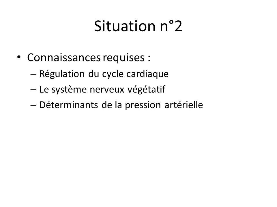 Situation n°2 Connaissances requises : – Régulation du cycle cardiaque – Le système nerveux végétatif – Déterminants de la pression artérielle