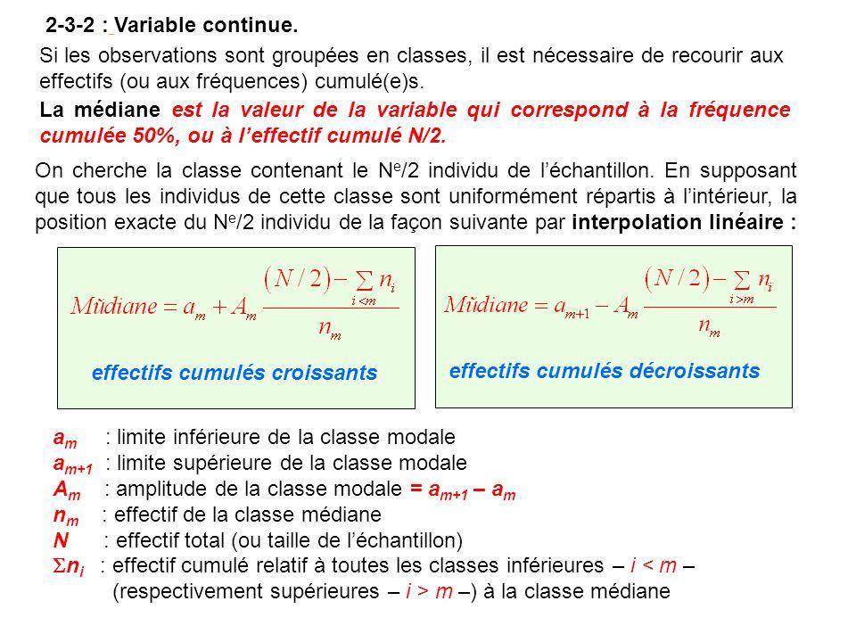 2-3-2 : Variable continue. Si les observations sont groupées en classes, il est nécessaire de recourir aux effectifs (ou aux fréquences) cumulé(e)s. L