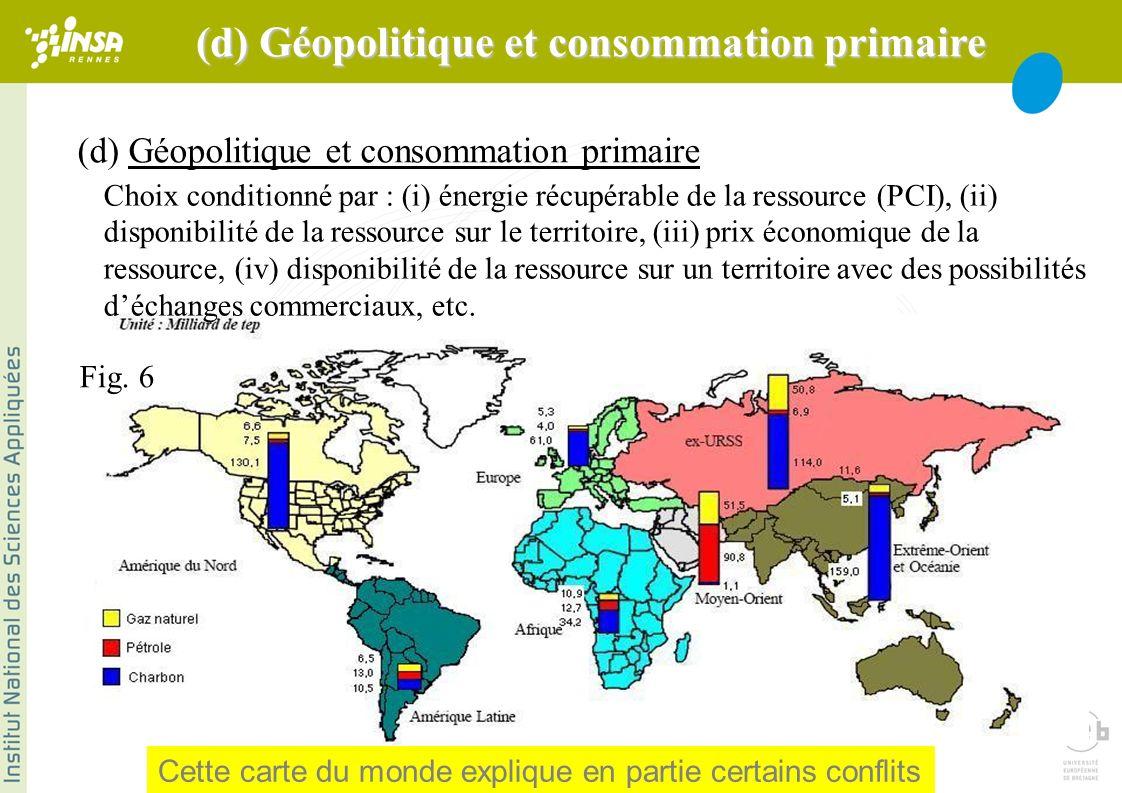 (d) Géopolitique et consommation primaire Choix conditionné par : (i) énergie récupérable de la ressource (PCI), (ii) disponibilité de la ressource sur le territoire, (iii) prix économique de la ressource, (iv) disponibilité de la ressource sur un territoire avec des possibilités déchanges commerciaux, etc.