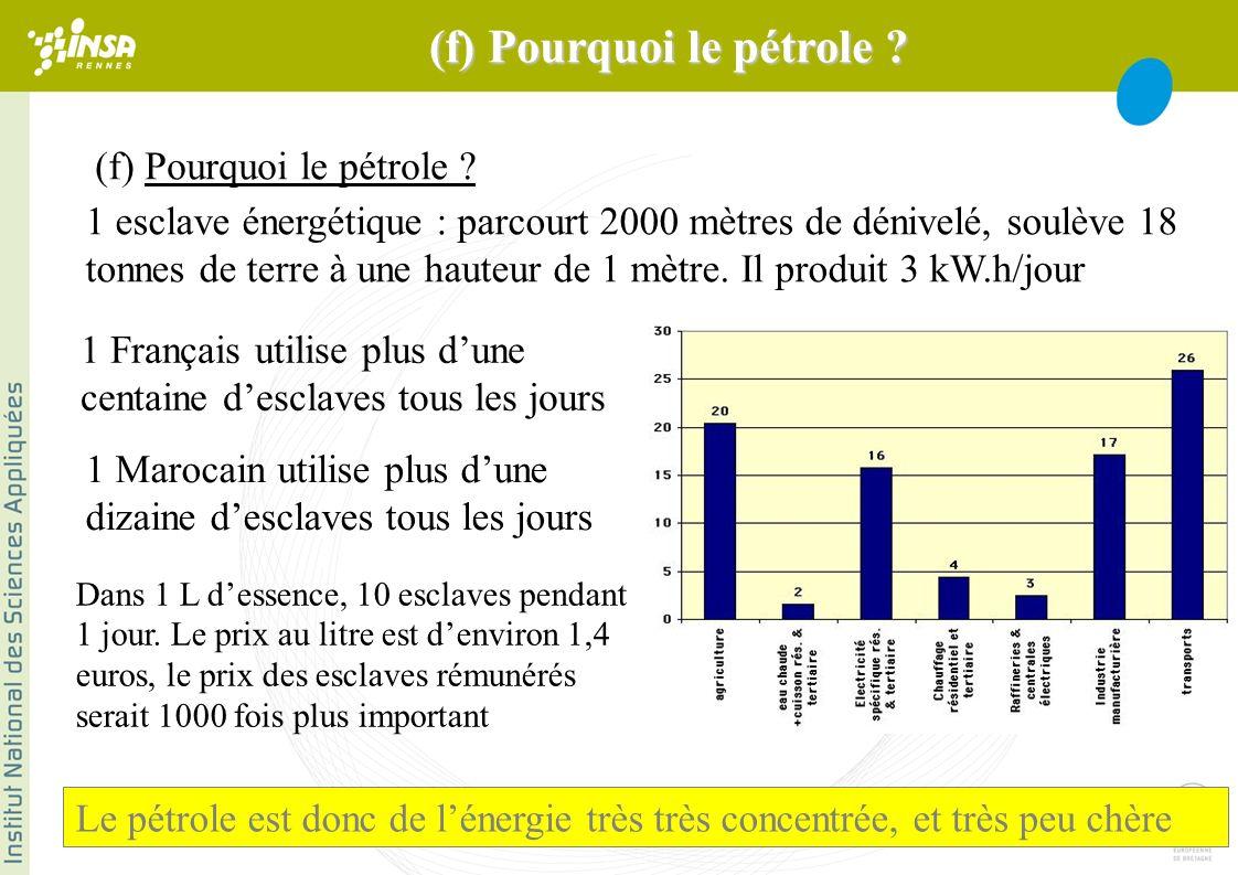 (f) Pourquoi le pétrole . Dans 1 L dessence, 10 esclaves pendant 1 jour.