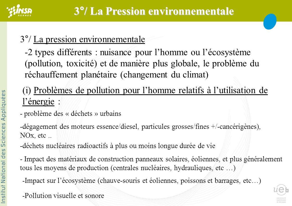 3°/ La pression environnementale -2 types différents : nuisance pour lhomme ou lécosystème (pollution, toxicité) et de manière plus globale, le problème du réchauffement planétaire (changement du climat) (i) Problèmes de pollution pour lhomme relatifs à lutilisation de lénergie : - problème des « déchets » urbains -dégagement des moteurs essence/diesel, particules grosses/fines +/-cancérigènes), NOx, etc..