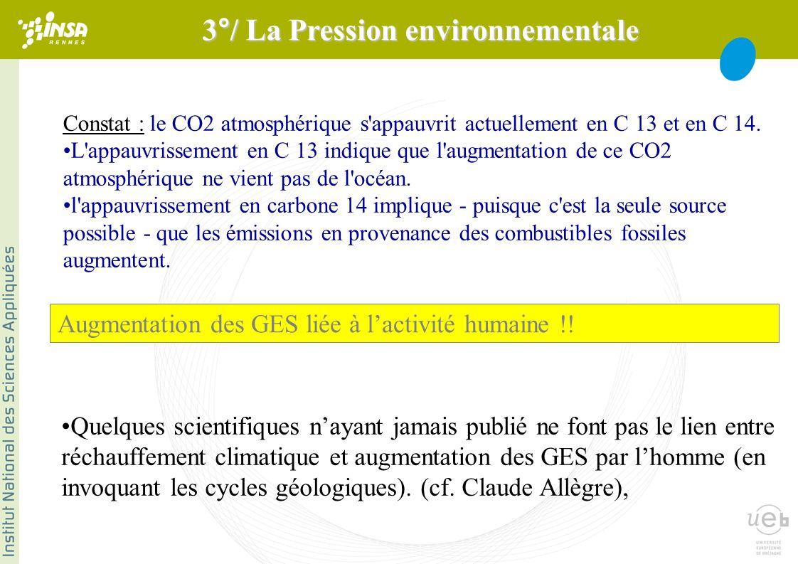 Constat : le CO2 atmosphérique s appauvrit actuellement en C 13 et en C 14.