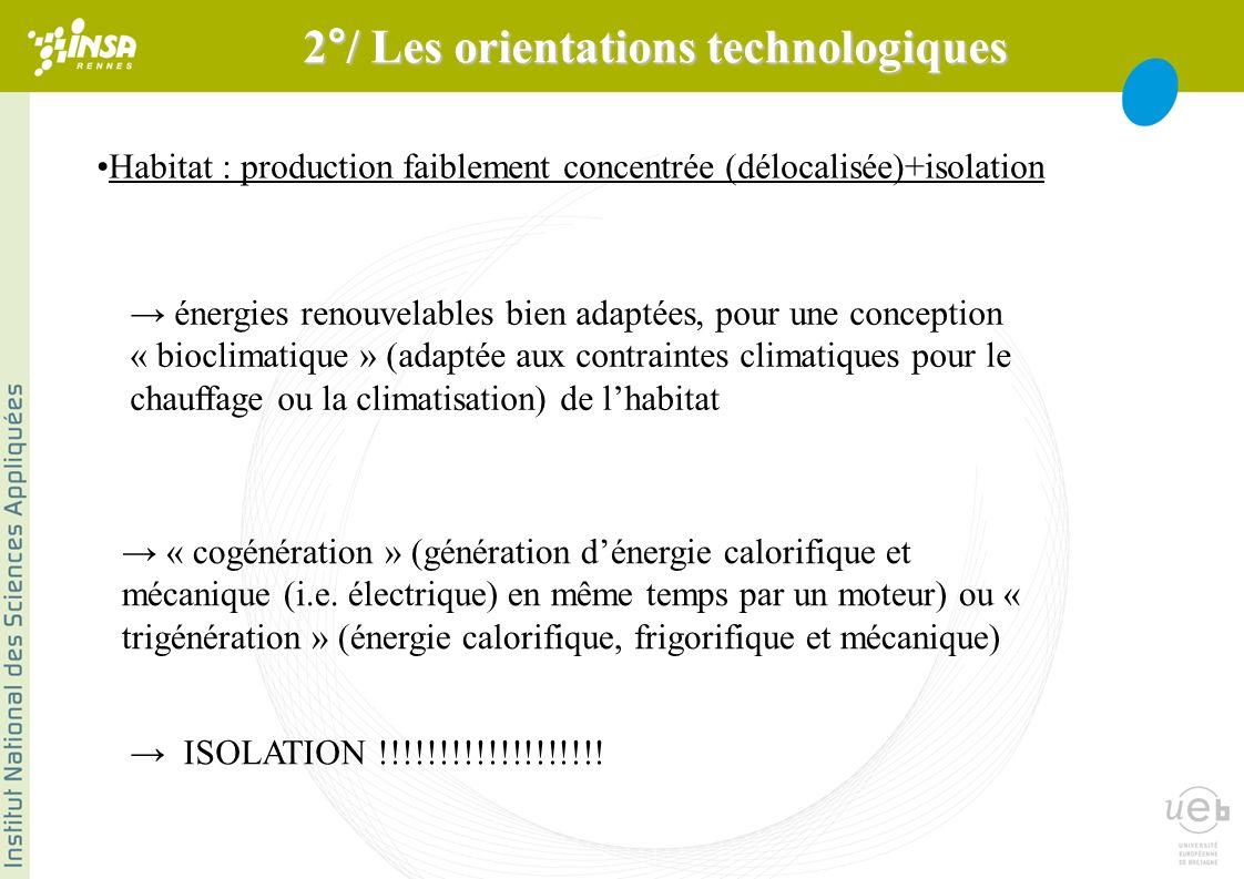 Habitat : production faiblement concentrée (délocalisée)+isolation énergies renouvelables bien adaptées, pour une conception « bioclimatique » (adaptée aux contraintes climatiques pour le chauffage ou la climatisation) de lhabitat « cogénération » (génération dénergie calorifique et mécanique (i.e.