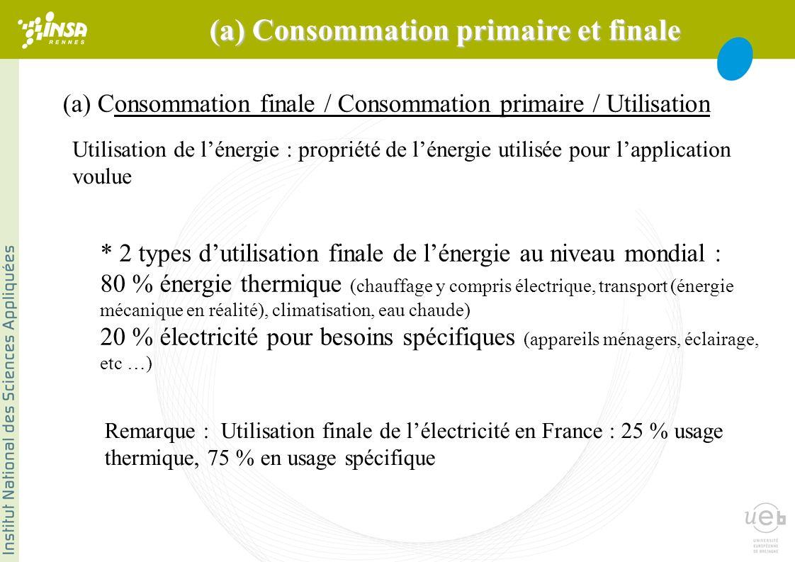 (a) Consommation finale / Consommation primaire / Utilisation Remarque : Utilisation finale de lélectricité en France : 25 % usage thermique, 75 % en usage spécifique * 2 types dutilisation finale de lénergie au niveau mondial : 80 % énergie thermique (chauffage y compris électrique, transport (énergie mécanique en réalité), climatisation, eau chaude) 20 % électricité pour besoins spécifiques (appareils ménagers, éclairage, etc …) Utilisation de lénergie : propriété de lénergie utilisée pour lapplication voulue (a) Consommation primaire et finale