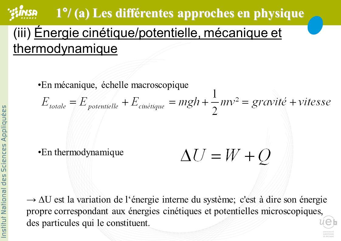 (iii) Énergie cinétique/potentielle, mécanique et thermodynamique En mécanique, échelle macroscopique En thermodynamique U est la variation de lénergie interne du système; c est à dire son énergie propre correspondant aux énergies cinétiques et potentielles microscopiques, des particules qui le constituent.