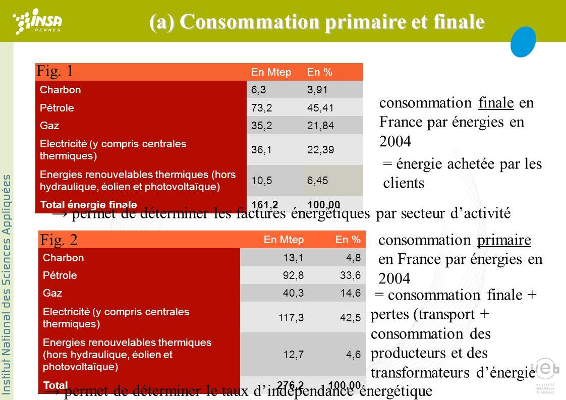 * 3 secteurs différents pour la consommation totale dénergie : 1/3 habitat domestique (4MWh/an/foyer en France en électricité, cest-à-dire 500W de puissance électrique continue) 1/3 industrie + secteur tertiaire 1/3 transports Importance de lénergie sous forme thermique, rôle prépondérant des transports !!!.
