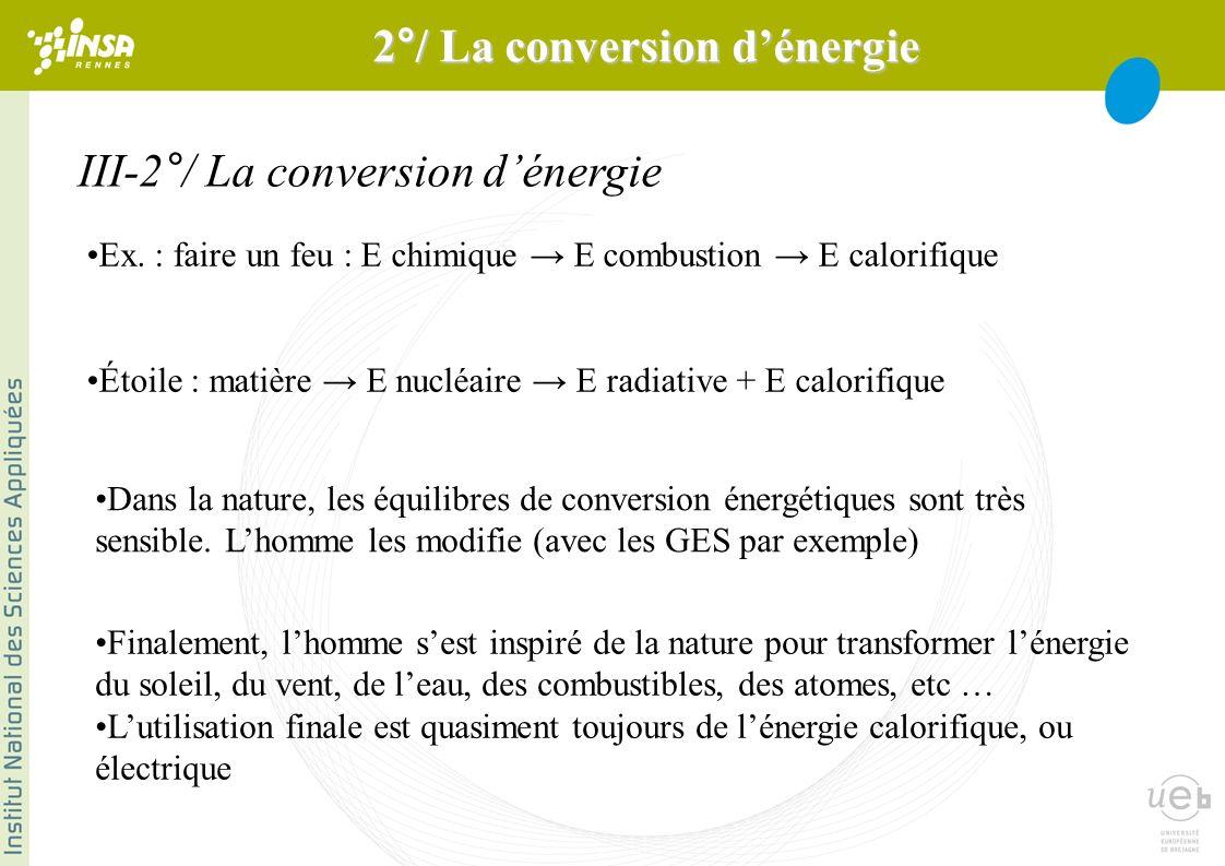 III-2°/ La conversion dénergie Ex. : faire un feu : E chimique E combustion E calorifique Étoile : matière E nucléaire E radiative + E calorifique Dan