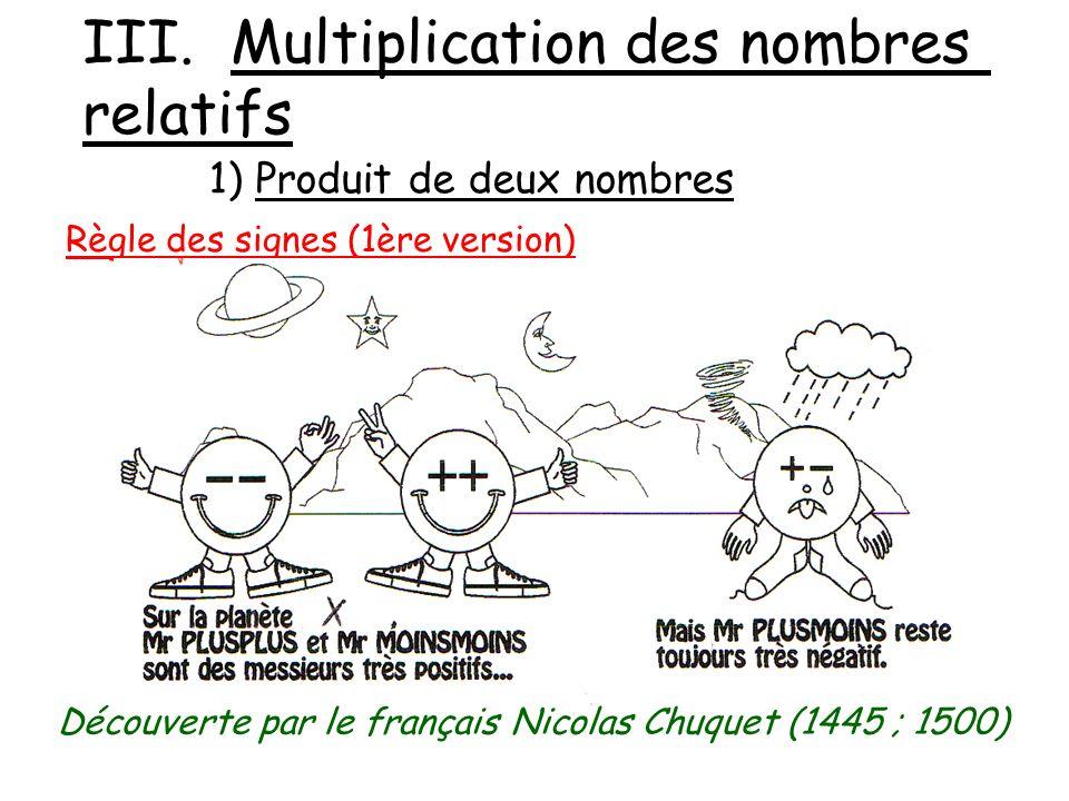 III. Multiplication des nombres relatifs 1) Produit de deux nombres Règle des signes (1ère version) Découverte par le français Nicolas Chuquet (1445 ;