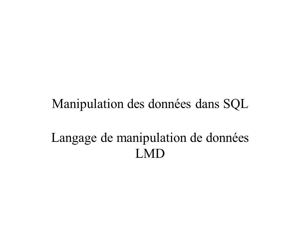 Manipulation des données dans SQL Langage de manipulation de données LMD