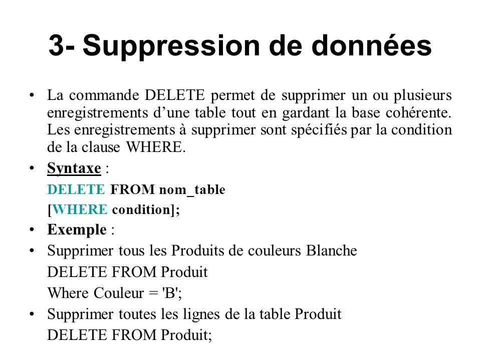 3- Suppression de données La commande DELETE permet de supprimer un ou plusieurs enregistrements dune table tout en gardant la base cohérente. Les enr