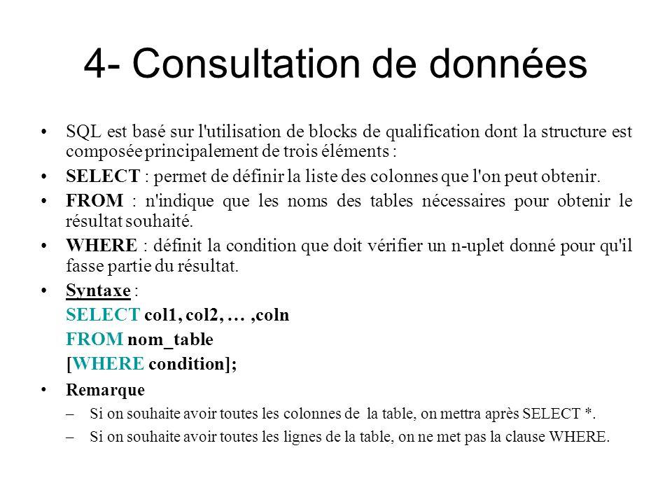 4- Consultation de données SQL est basé sur l'utilisation de blocks de qualification dont la structure est composée principalement de trois éléments :