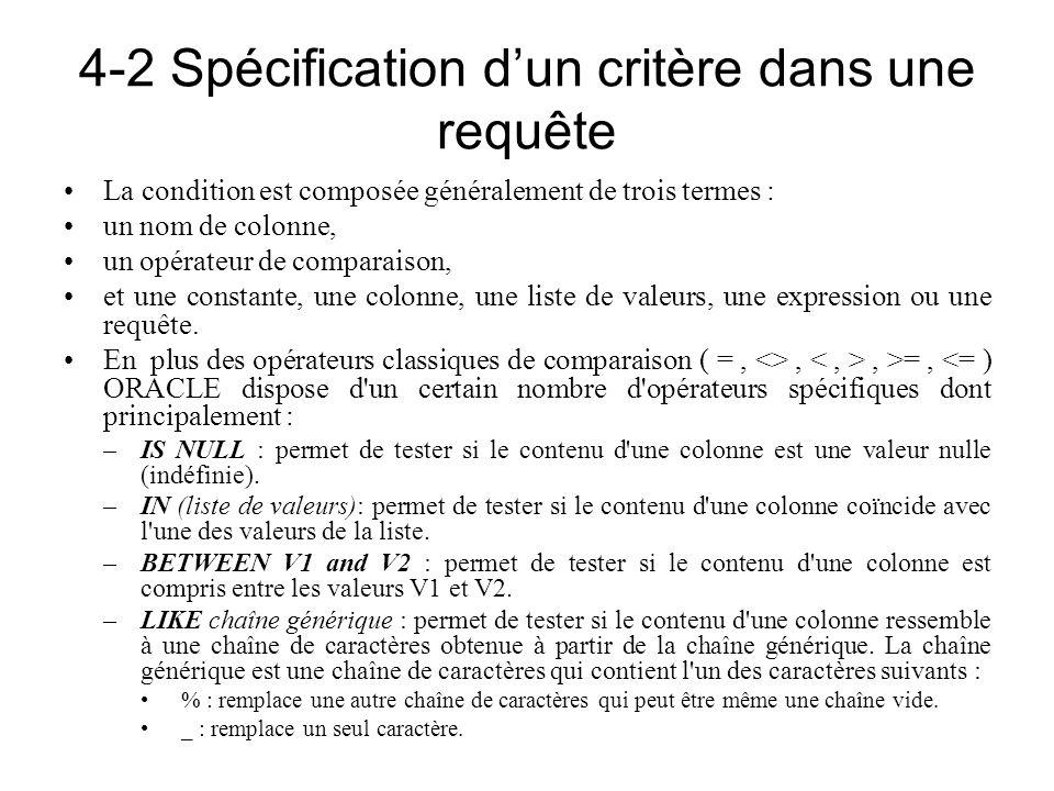 4-2 Spécification dun critère dans une requête La condition est composée généralement de trois termes : un nom de colonne, un opérateur de comparaison