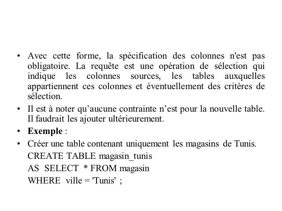 Avec cette forme, la spécification des colonnes n'est pas obligatoire. La requête est une opération de sélection qui indique les colonnes sources, les