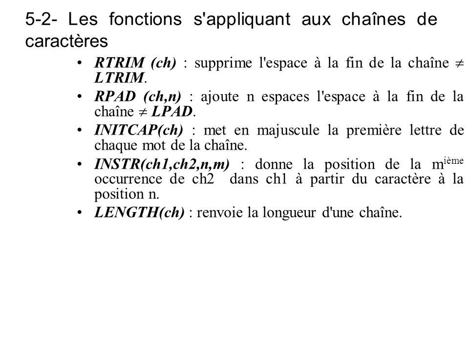 5-2- Les fonctions s'appliquant aux chaînes de caractères RTRIM (ch) : supprime l'espace à la fin de la chaîne LTRIM. RPAD (ch,n) : ajoute n espaces l