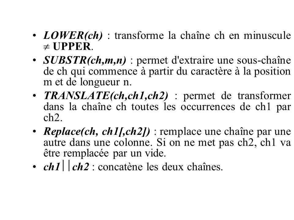 LOWER(ch) : transforme la chaîne ch en minuscule UPPER. SUBSTR(ch,m,n) : permet d'extraire une sous-chaîne de ch qui commence à partir du caractère à