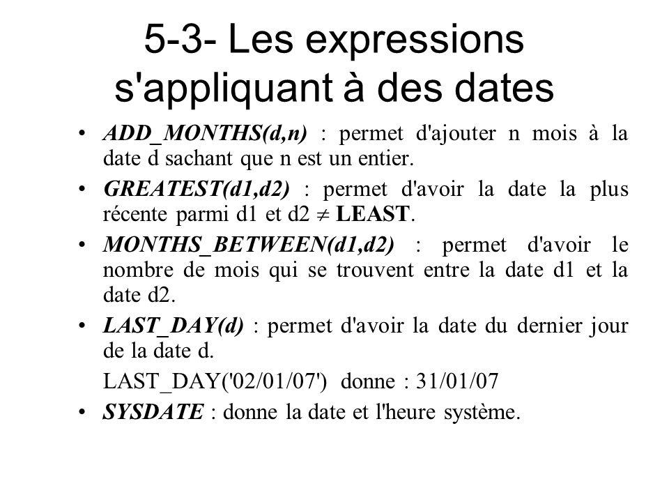 5-3- Les expressions s'appliquant à des dates ADD_MONTHS(d,n) : permet d'ajouter n mois à la date d sachant que n est un entier. GREATEST(d1,d2) : per