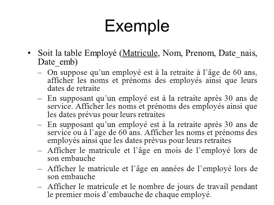 Exemple Soit la table Employé (Matricule, Nom, Prenom, Date_nais, Date_emb) –On suppose quun employé est à la retraite à lâge de 60 ans, afficher les