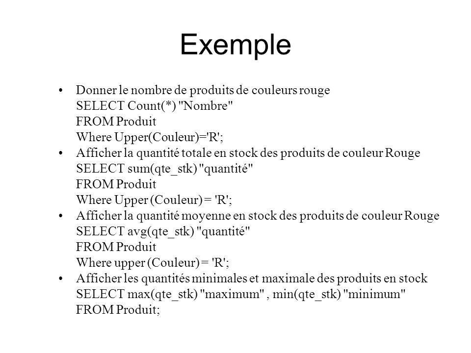 Exemple Donner le nombre de produits de couleurs rouge SELECT Count(*)