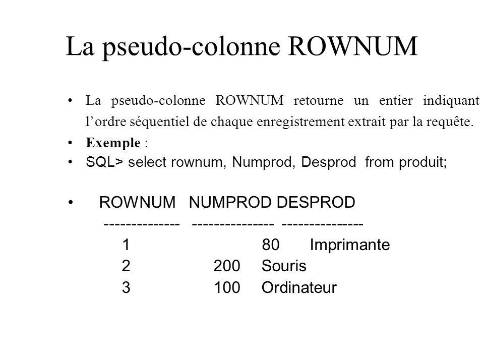 La pseudo-colonne ROWNUM La pseudo-colonne ROWNUM retourne un entier indiquant lordre séquentiel de chaque enregistrement extrait par la requête. Exem
