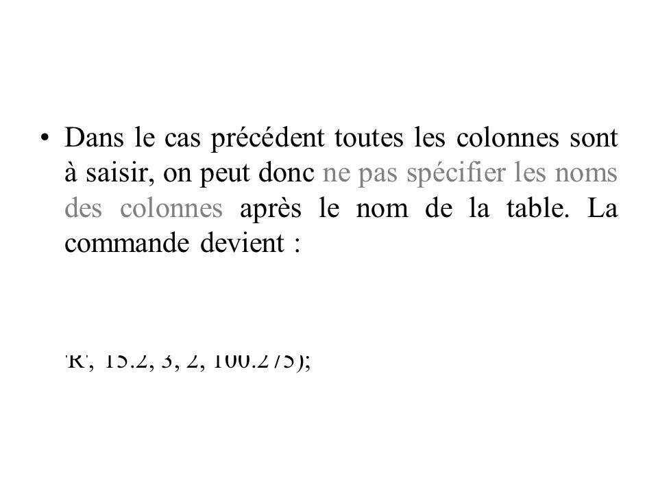 Dans le cas précédent toutes les colonnes sont à saisir, on peut donc ne pas spécifier les noms des colonnes après le nom de la table. La commande dev