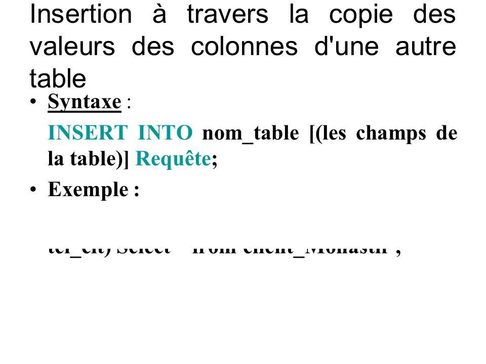 Insertion à travers la copie des valeurs des colonnes d'une autre table Syntaxe : INSERT INTO nom_table [(les champs de la table)] Requête; Exemple :