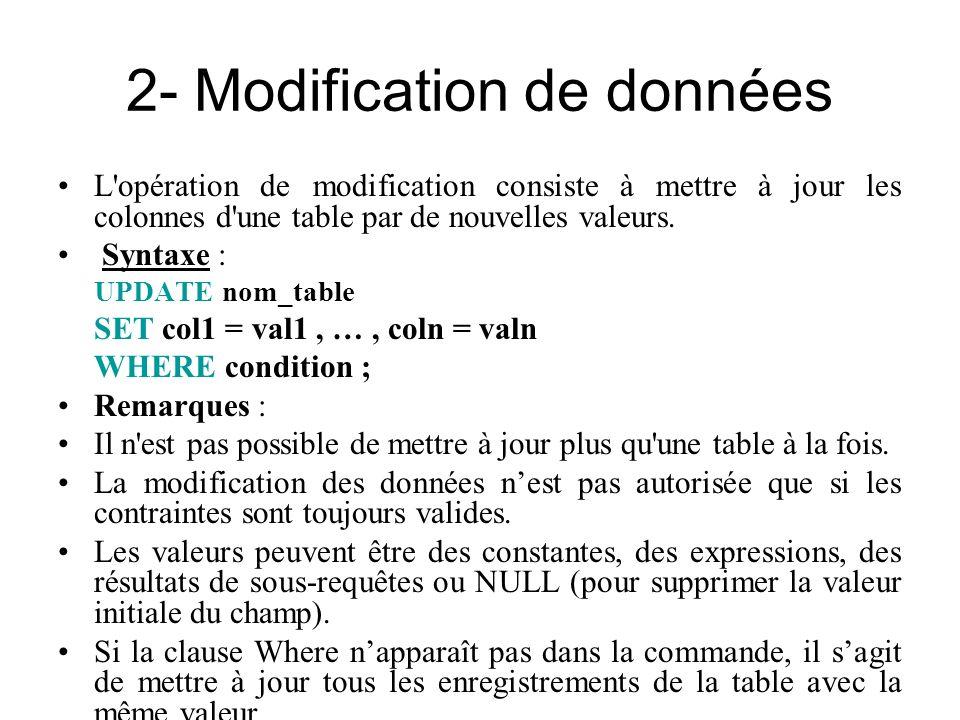 2- Modification de données L'opération de modification consiste à mettre à jour les colonnes d'une table par de nouvelles valeurs. Syntaxe : UPDATE no