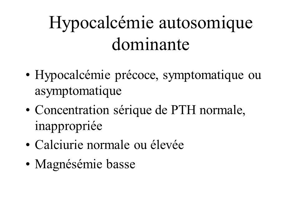Hyperparathyroïdie primitive néonatale sévère Habituellement autosomique récessive Hypercalcémie néonatale sévère –retard de croissance –déshydratatio