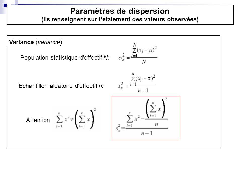 Variance (variance) Population statistique d'effectif N: Échantillon aléatoire d'effectif n: Attention Paramètres de dispersion (ils renseignent sur l