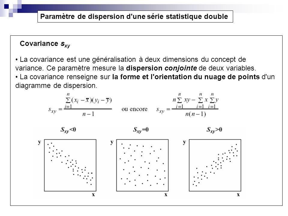 Paramètre de dispersion d'une série statistique double Covariance s xy La covariance est une généralisation à deux dimensions du concept de variance.