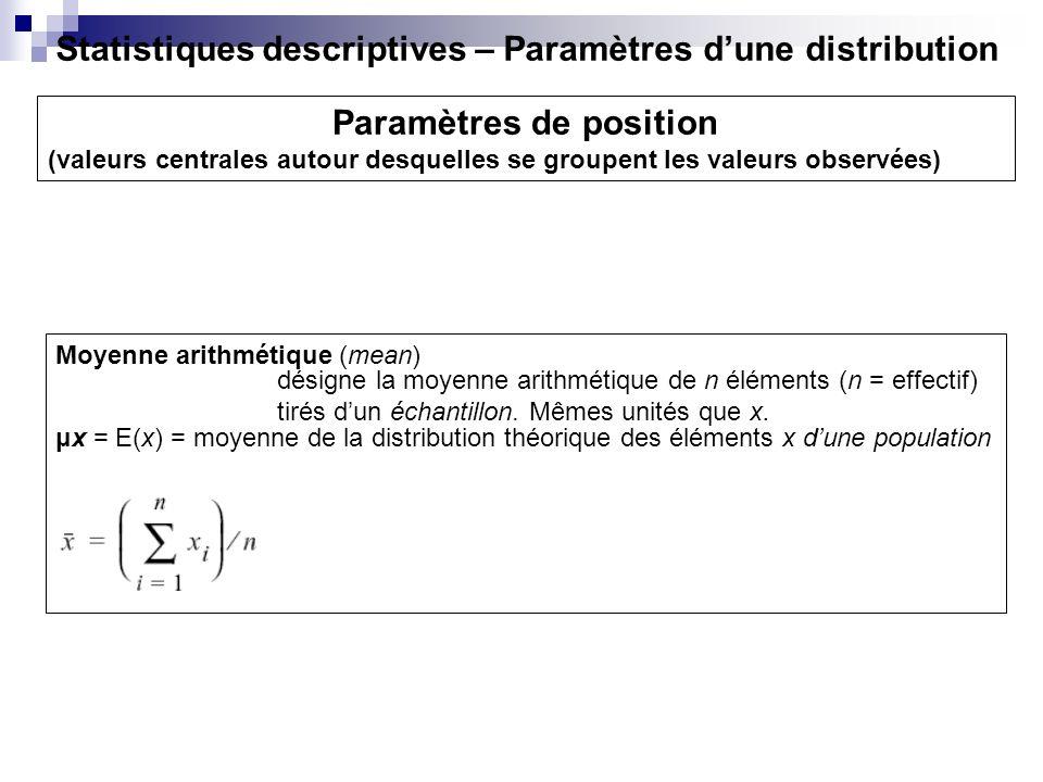 Paramètres de position (valeurs centrales autour desquelles se groupent les valeurs observées) désigne la moyenne arithmétique de n éléments (n = effe