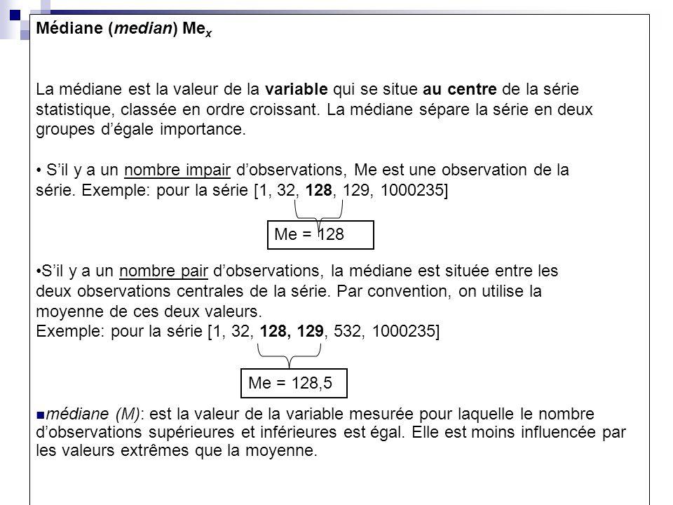 Stabilité de la médiane:exemple1 on a reporté le temps mis par 20 nouveaux diplômés pour décrocher un premier emploi( en mois): 0; 0; 0; 0;0;1;1;1;2;2;2;3;3;3;4;4;6;6;8;20 Avec les 20 valeurs: MOY=3,3 Me=2 En éliminant la valeur 20 mois: moy=2,42 Me=2 Conclusion: la moy est bcp plus stable que la moy vis-à-vis des valeurs extrêmes