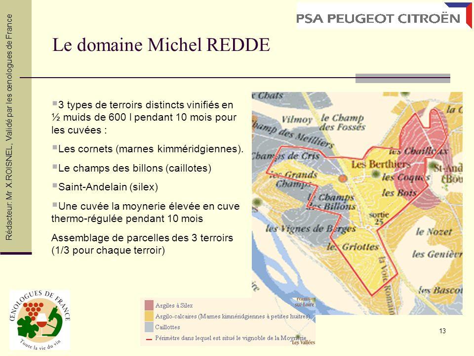 13 Le domaine Michel REDDE 3 types de terroirs distincts vinifiés en ½ muids de 600 l pendant 10 mois pour les cuvées : Les cornets (marnes kimméridgi