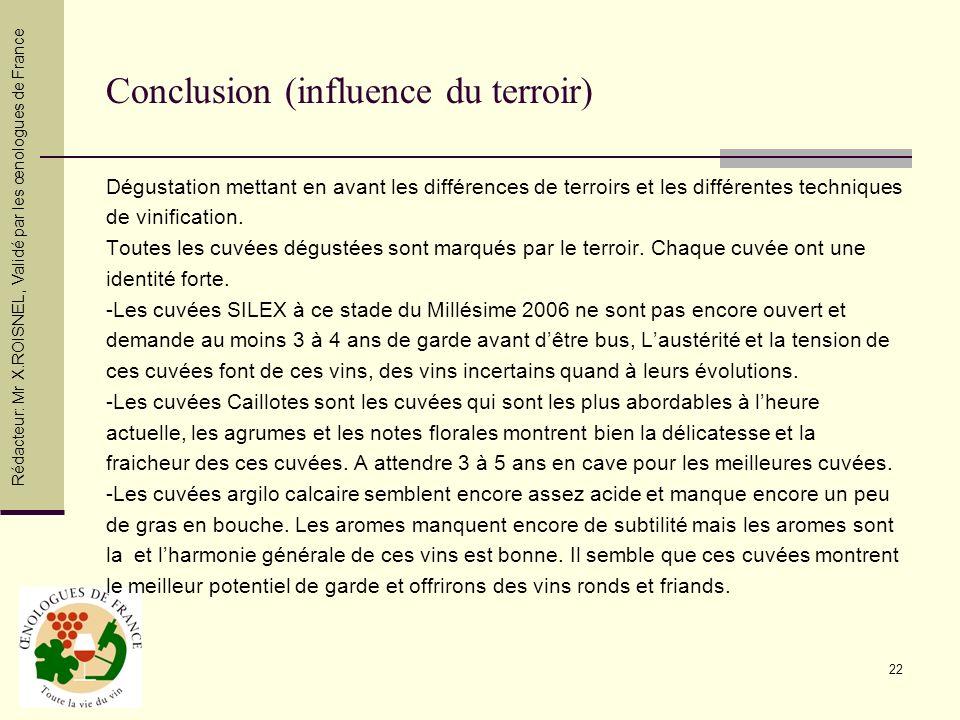 22 Conclusion (influence du terroir) Dégustation mettant en avant les différences de terroirs et les différentes techniques de vinification. Toutes le