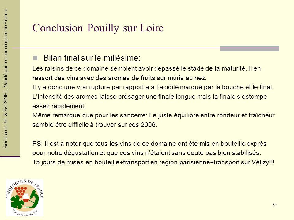 25 Conclusion Pouilly sur Loire Bilan final sur le millésime: Les raisins de ce domaine semblent avoir dépassé le stade de la maturité, il en ressort
