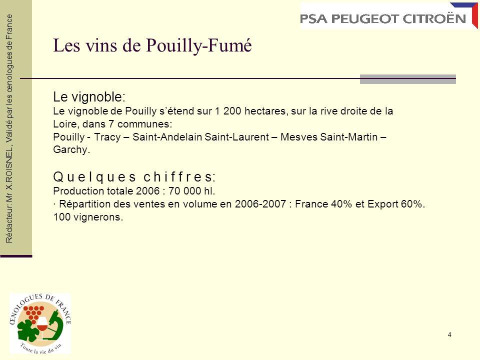 4 Les vins de Pouilly-Fumé Le vignoble: Le vignoble de Pouilly sétend sur 1 200 hectares, sur la rive droite de la Loire, dans 7 communes: Pouilly - T