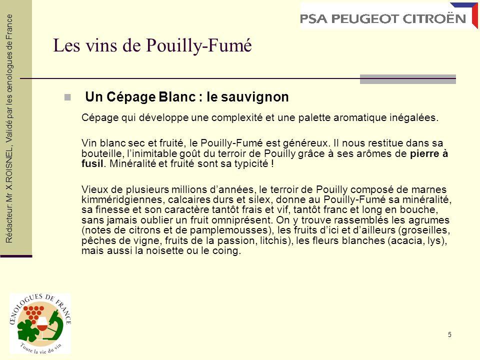 5 Les vins de Pouilly-Fumé Un Cépage Blanc : le sauvignon Cépage qui développe une complexité et une palette aromatique inégalées. Vin blanc sec et fr