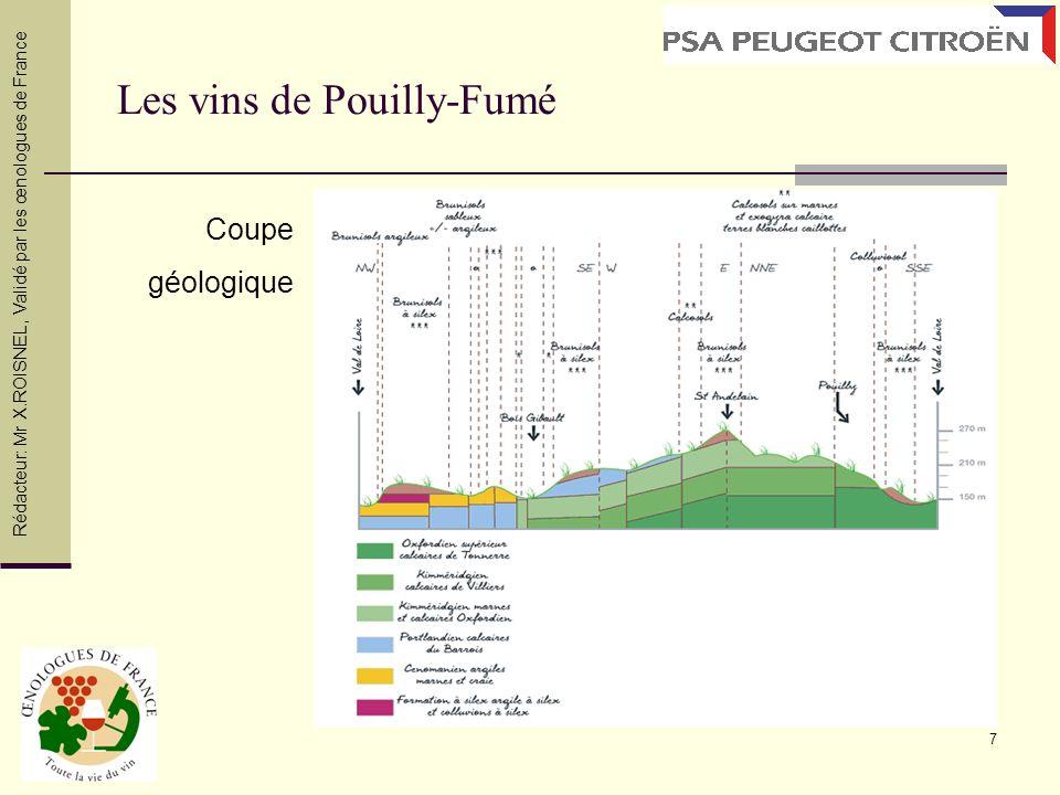7 Les vins de Pouilly-Fumé Coupe géologique Rédacteur: Mr X.ROISNEL, Validé par les œnologues de France