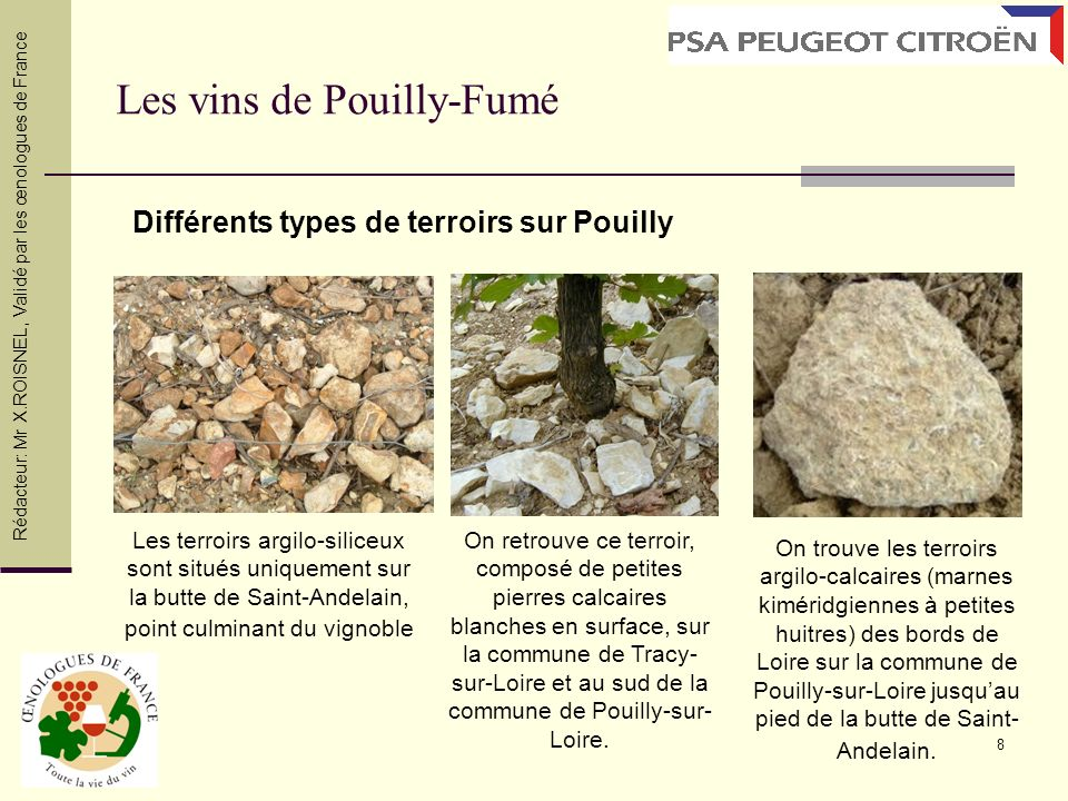 8 Les vins de Pouilly-Fumé Les terroirs argilo-siliceux sont situés uniquement sur la butte de Saint-Andelain, point culminant du vignoble On retrouve