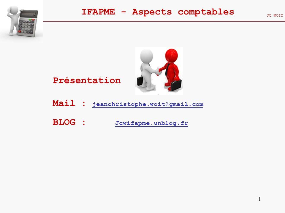 1 IFAPME - Aspects comptables JC WOIT Présentation Mail : jeanchristophe.woit@gmail.com BLOG : Jcwifapme.unblog.fr