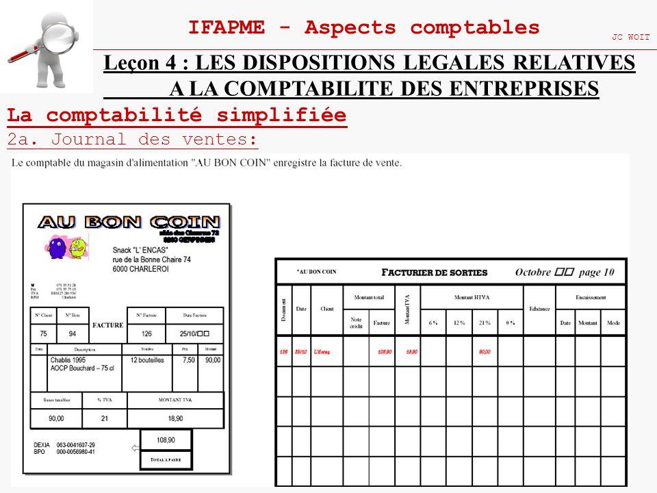 104 IFAPME - Aspects comptables JC WOIT Leçon 4 : LES DISPOSITIONS LEGALES RELATIVES A LA COMPTABILITE DES ENTREPRISES La comptabilité simplifiée 2a.